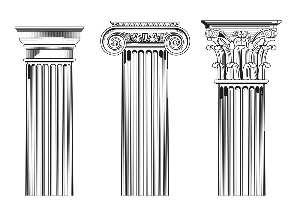 Illustration of the head part of the three types of columns common in Roman architecture: Doric, Ionic and Corinthian