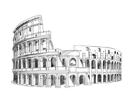 Sketch drawing of the Colosseum