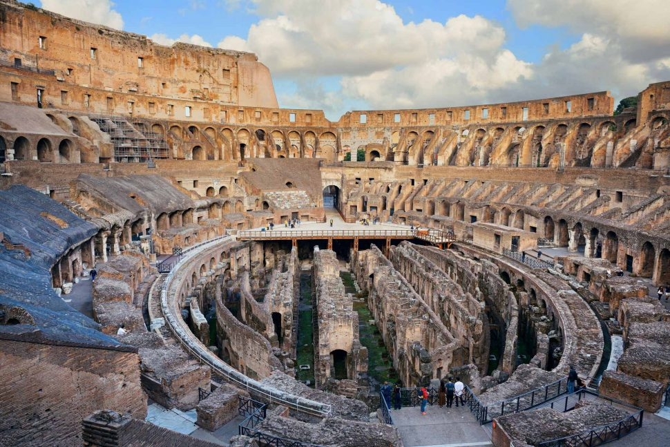 The Colosseum seen from inside, with view of the arena and the hypogeum