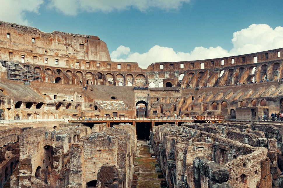 The Colosseum seen from the inside, with the open underground in view