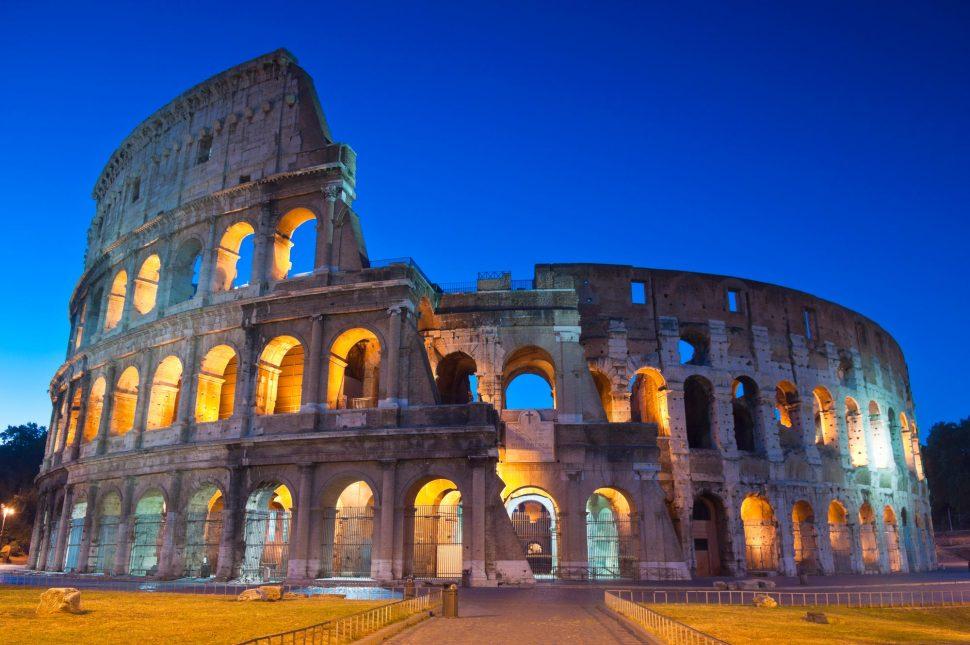 The Colosseum illuminated at night