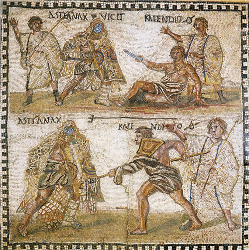 Mosaic of two gladiators fighting, a retiarius and a secutor, with referees watching