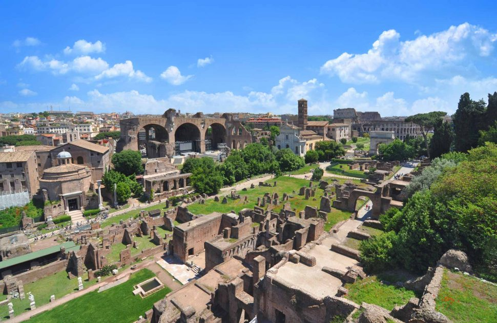 The Roman Forum seen from the top of the Palatine Hill, both are near the Colosseum