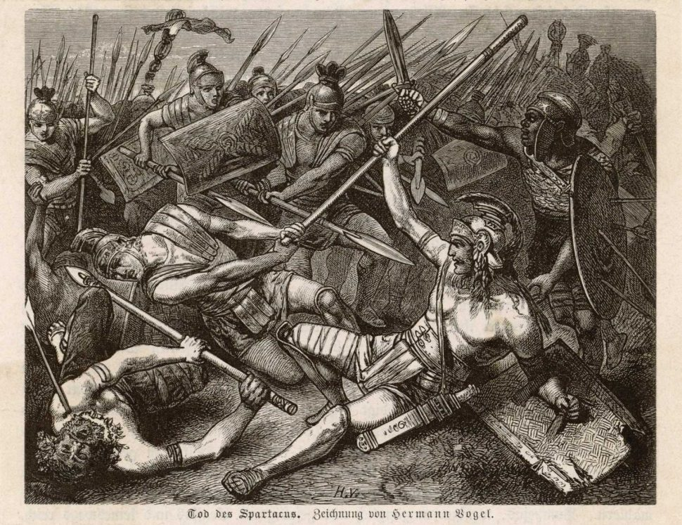 Spartacus falling in battle in the painting Tod des Spartacus, The Death of Spartacus, by Hermann Vogel